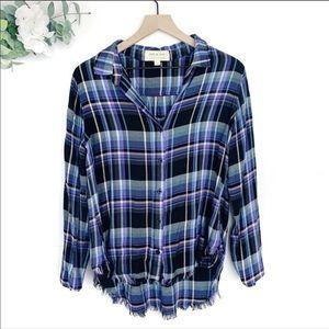 Cloth & Stone Plaid Fringe Hem Flannel Button Down